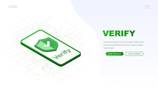 Icona verificata sullo schermo pagina di caricamento del telefono sito web icona approvata segno di spunta icona approvata verificata e protetta isometrica