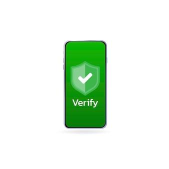 Icona verificata sullo schermo pagina di caricamento del telefono sito web icona approvato segno di spunta approvato verificato