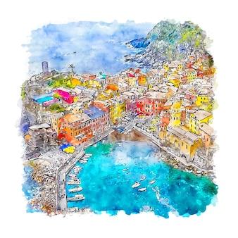 Illustrazione disegnata a mano di schizzo dell'acquerello di vernazza italia