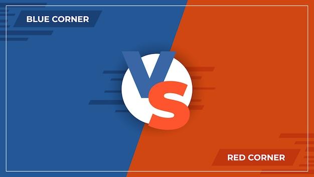 Contro lo sfondo. logo di confronto vs, concetto di competizione sportiva comica, poster di squadra blu e rosso di battaglia di gioco. rispetto alle illustrazioni di confronto