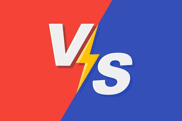 Contro il telaio. vs battaglia di duello, schermata di confronto di boxe e sfondo di confronto di combattimento con combattimento di fulmini sport partita combattimento confronto sfida pubblicità logo vettoriale concept