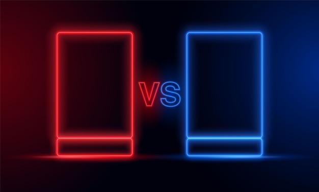 Cornice di luce al neon contro blu rosso.