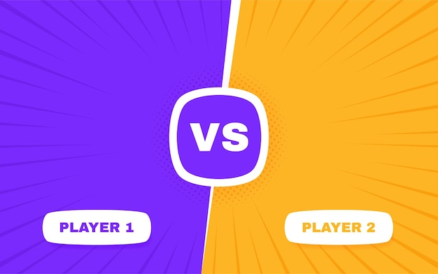 Contro lo schermo. vs battaglia tra il giocatore 1 e il giocatore 2. confronto lotta contro la concorrenza.