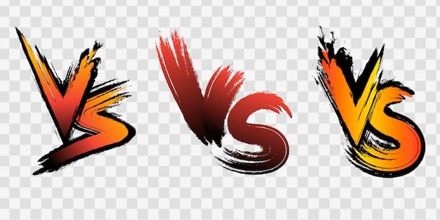 Le lettere vs contro vs combattono gli sfondi in stile fumetto piatto con mezzitoni, fulmini. illustrazione