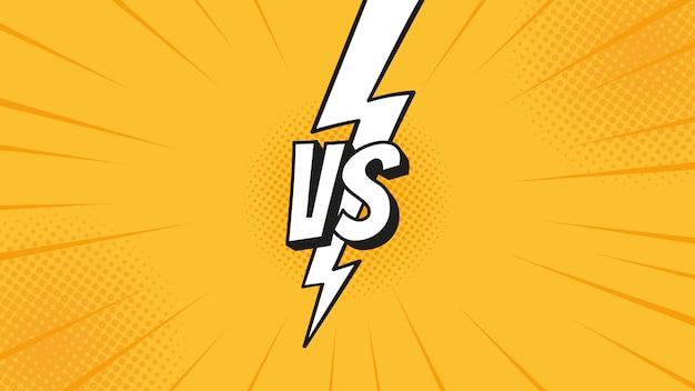 Contro il segno vs con un fulmine isolato su sfondi di lotta in stile fumetto piatto