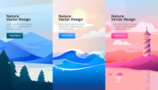 Bandiere verticali del paesaggio sfumato con montagne e legno. stile piatto.