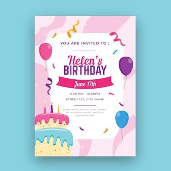 Modello di carta di compleanno verticale