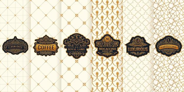 Set di carte verticali packaging design etichette oro cornice logo