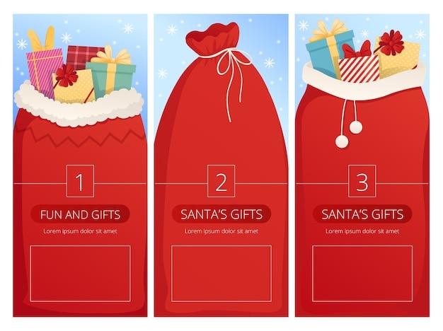 Carte verticali con sacchi di babbo natale per il design natalizio.