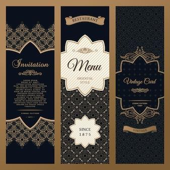 Etichette di design verticale e confezioni di cornici per il prodotto
