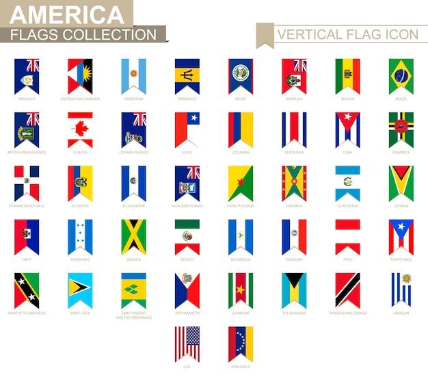 Icona della bandiera verticale dell'america. accumulazione della bandiera di vettore dei paesi americani.