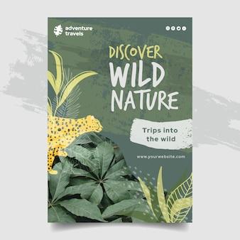 Modello di volantino verticale per natura selvaggia con vegetazione e ghepardo