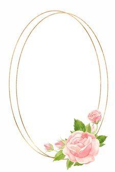 Cornice verticale con rose rosa e cornice geometrica oro floral