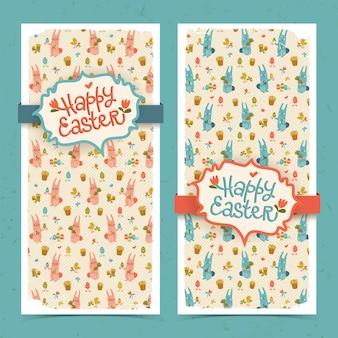 Banner di doodle di pasqua felice verticale con conigli carini colorati e nastri isolati