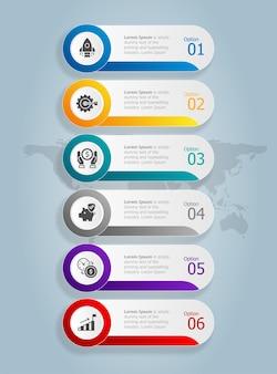 Modello di elemento di presentazione infografica verticale con sfondo di illustrazione vettoriale di opzioni 6 icone di affari