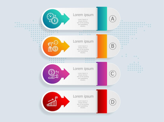 Modello di elemento di presentazione infografica verticale con opzioni di icona di affari 4