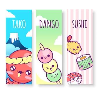 Illustrazioni verticali in giappone di tako, dango e sushi in stile kawaii