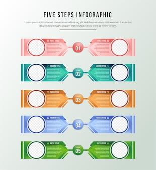 Barra di avanzamento del layout verticale con 5 elementi a forma di freccia sovrapposti.