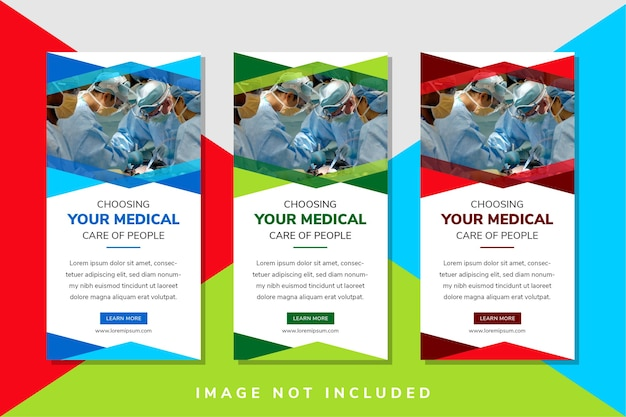 Layout verticale del design del modello di banner web per la promozione del tuo medico tre colori di variazione per scegliere sono la forma esagonale rossa verde e blu dello spazio per la foto