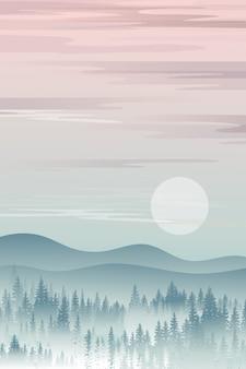 Paesaggio verticale della montagna con le siluette dei pini nebbiosi in foresta con alba, naturale panoramico pacifico nello stile minimalista, concetto dello sfondo naturale