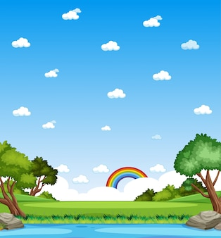 Natura verticale scena o paesaggio di campagna con vista sulla foresta e arcobaleno nel cielo vuoto durante il giorno