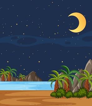 Scena della natura verticale o paesaggio di campagna con alberi di plam sulla spiaggia e cielo vuoto di notte