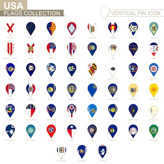 Icona del perno verticale, raccolta di bandiere degli stati uniti.