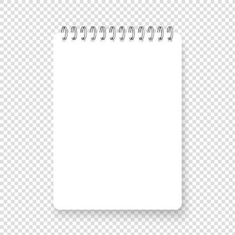 Blocco note a spirale realistico verticale con ombra. pagina quadrata di nota realistica pulita. taccuino di vettore in bianco su sfondo trasparente. vista dall'alto.