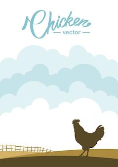 Scena verticale con profilo di gallo sullo sfondo del campo dell'azienda agricola.