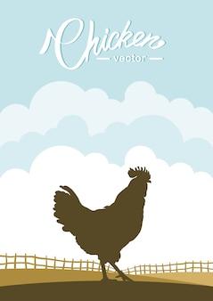 Scena verticale con silhouette di gallo sullo sfondo del campo dell'azienda agricola.