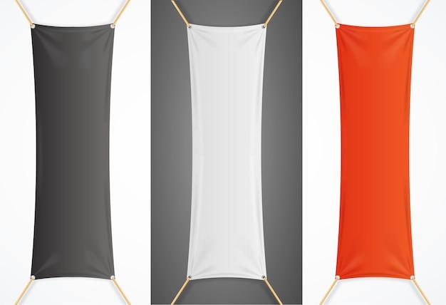 Banner pubblicitario tessile verticale con set di pieghe. illustrazione vettoriale