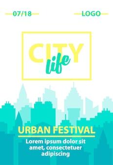 Modello di poster urbano verticale con paesaggio della città
