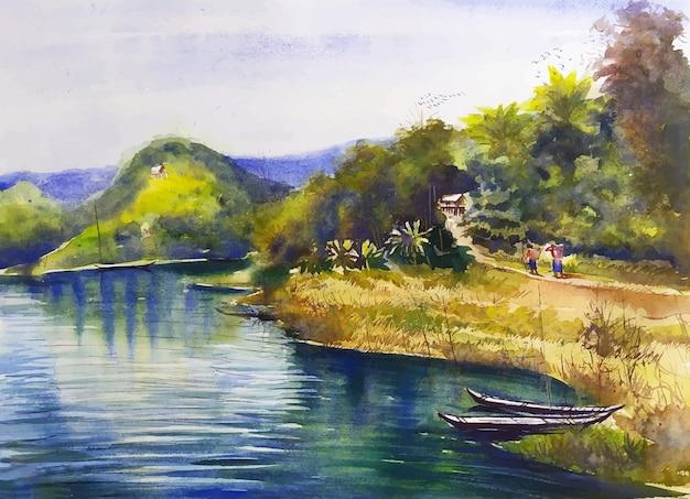 Una bellissima vista del lago, degli alberi e delle montagne del paesaggio dell'acquerello del luogo in viaggio dell'illustrazione del paesaggio della natura