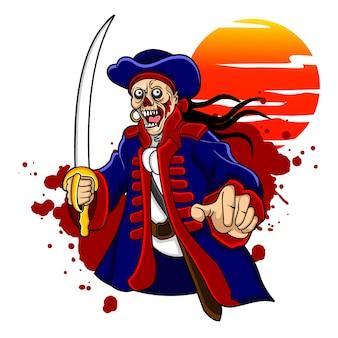 Un pirata dalla testa di teschio molto crudele