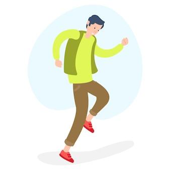 Un adolescente molto felice che balla isolato su priorità bassa bianca
