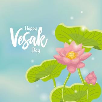 Manifesto di saluto di vesak con priorità bassa del loto