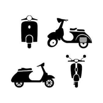 Insieme di progettazione dell'icona della vespa vecchia illustrazione dell'icona del motorino isolata