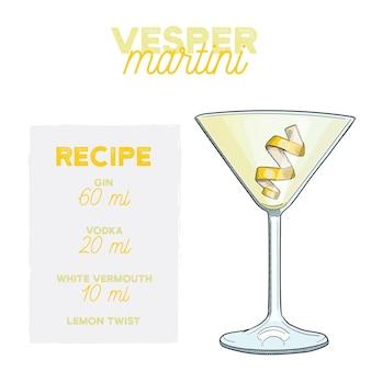 Vesper martini cocktail illustrazione vettoriale bere ricetta