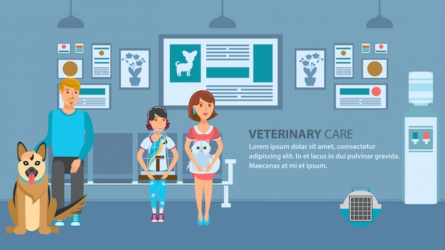 Modello di colore di vettore della bandiera della coda della clinica del veterinario