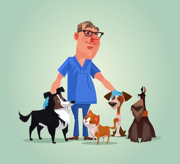 Carattere del medico veterinario con l'illustrazione del fumetto di cani e gatti