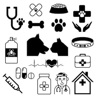 Set vettoriale veterinario o raccolta con medico, cane, gatto
