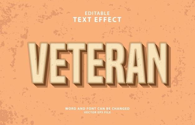 Effetto di testo eps vintage modificabile 3d veterano