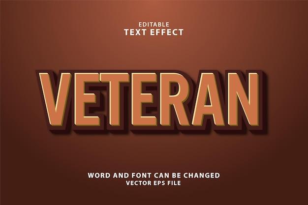 Effetto di testo modificabile veterano 3d eps