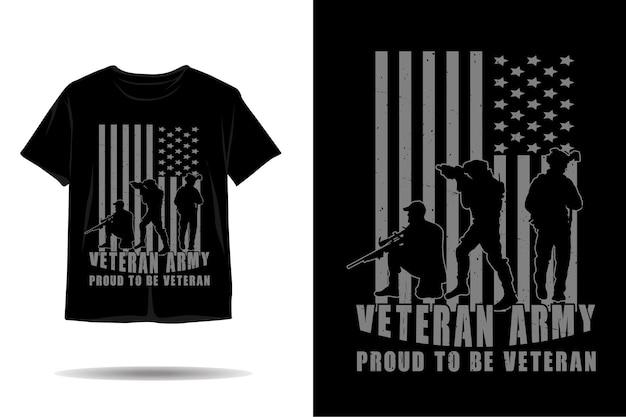 Disegno della maglietta sagoma dell'esercito veterano