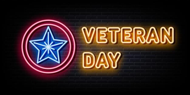 Modello di disegno vettoriale di insegne al neon per il giorno dei veterani in stile neon