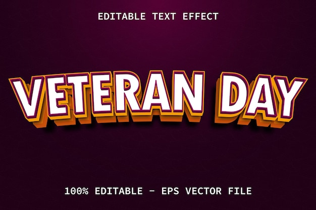 Giornata dei veterani con effetto di testo modificabile in stile moderno a strati