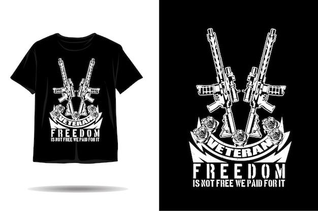 Design della maglietta silhouette veterano libertà