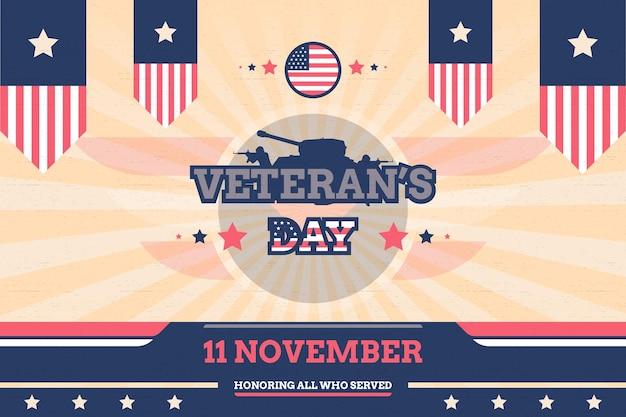 Sfondo del giorno del veterano con design vettoriale stile vintage bandiera e carro armato