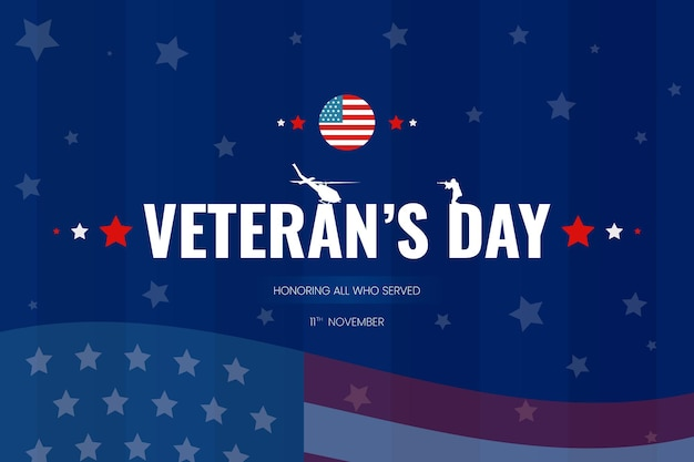 Sfondo del giorno del veterano con elicottero del soldato della bandiera degli stati uniti e design moderno di vettore di gradiente blu di forma astratta
