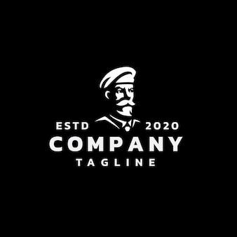 Design del logo della sagoma del soldato veterano